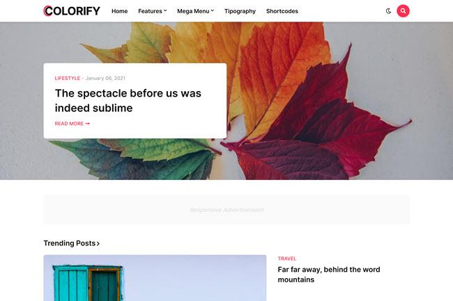 Colorify Blogger template premium free