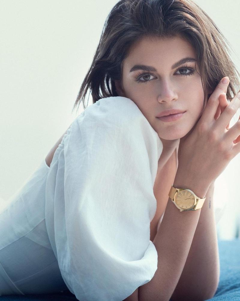 Kaia Gerber stars in Omega Trésor watch campaign.