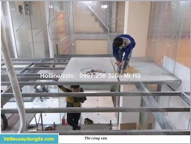 thi công sàn gia đúc bằng tấm bê tông nhẹ cemboard hải dương