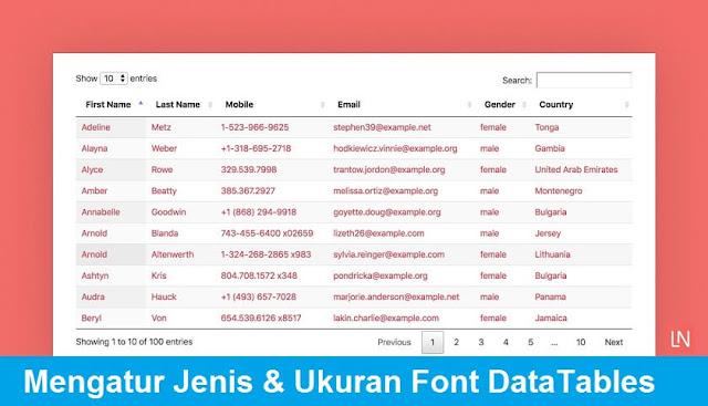 Mengatur Ukuran Font dan Gaya Font di DataTables