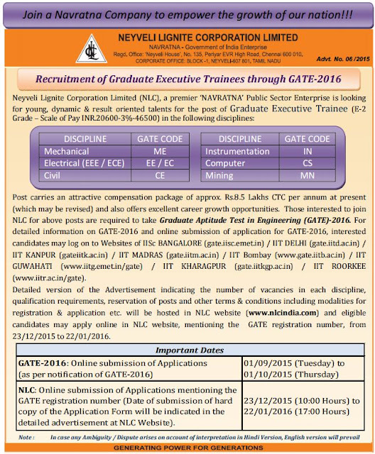 Graduate Executive Trainee Recruitments in NLC through GATE 2016 qualified candidates