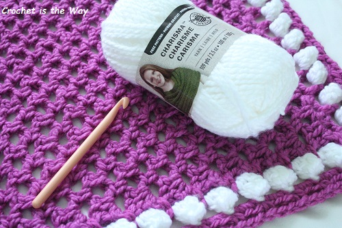 crochet, Pink and White shoe, baby blanket, Charisma, Loops & Threads, Yarn