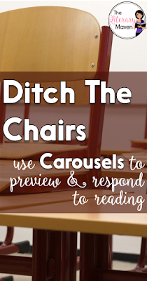 """Like I said, this is an activity that can be used before reading. Instead of your usual anticipation guide where students check off agree or disagree, turn it into a carousel so your students are moving around using up some of that energy. Research also strongly links movement with learning. For example, before reading Romeo & Juliet, I do a carousel of questions that relate to the themes of the play, such as """"what should be the punishment for murder?"""" and """"how important is family?"""" These are great to hang around the classroom and you can return to them throughout the text you are reading to see if students' answers change."""