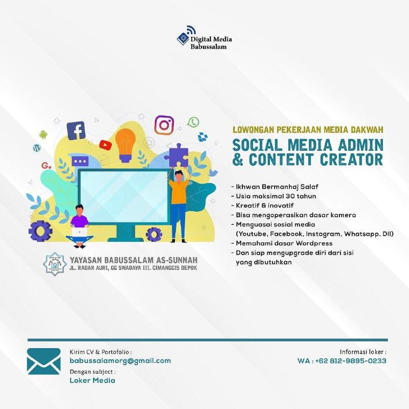 Lowongan Pekerjaan Media Dakwah Admin Sosial Media Content Creator Loker Admin Sosial Media Content Creator Di Depok Sokopati Online