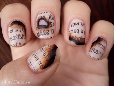 Tutorial of the Newspaper Nails Manicure