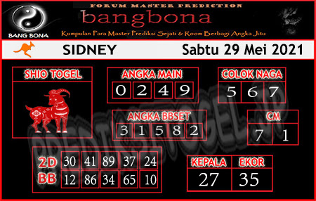 Prediksi Bangbona Sydney Sabtu 29 Mei 2021