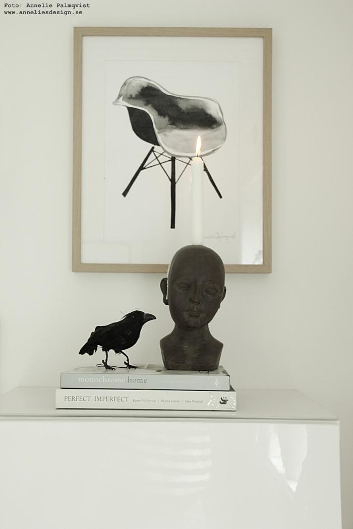 kråka, fågel, fåglar, svart, ansikte, ljusstake, tavla, tavlor, poster, posters, konsttryck, stolar,