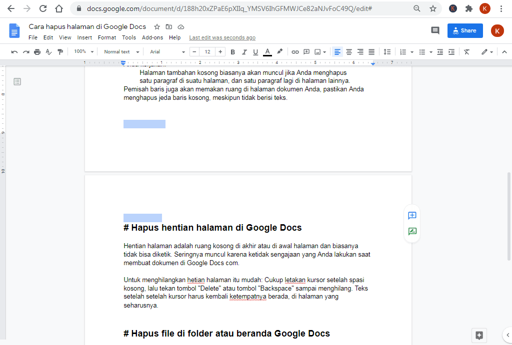 cara hapus page break di google docs