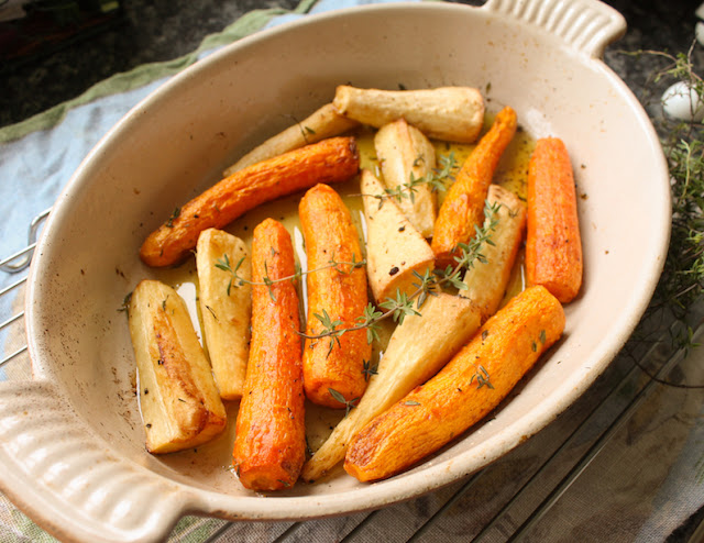 Food Lust People Love: Duck-fat Roasted Carrots and Parsnips are simple yet flavorful. The duck fat adds richness and roasting brings out the natural sweetness of the vegetables.
