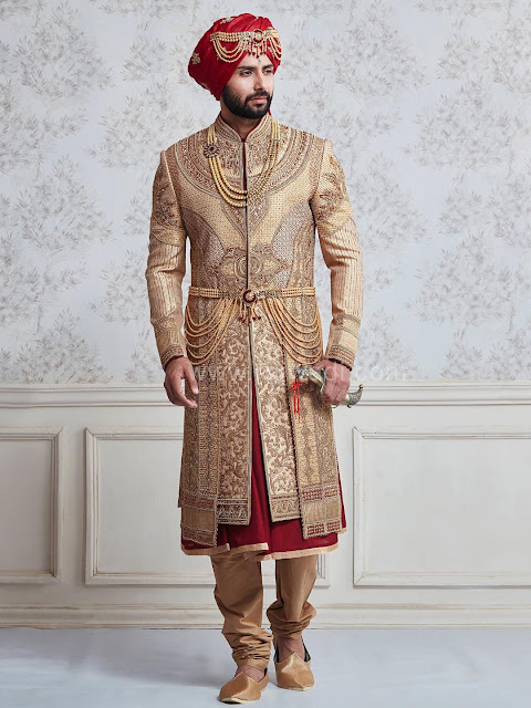 Indian traditional Wedding golden Groom Dress 2020