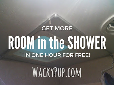 Free and Easy Fix for a Tiny Shower - Amazing! A ton of great ideas for organizing and remodeling campers and small spaces!