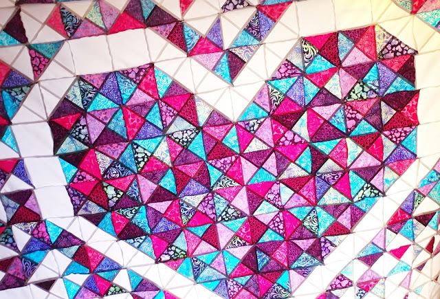 Exploding Heart quilt with Island Batik fabric