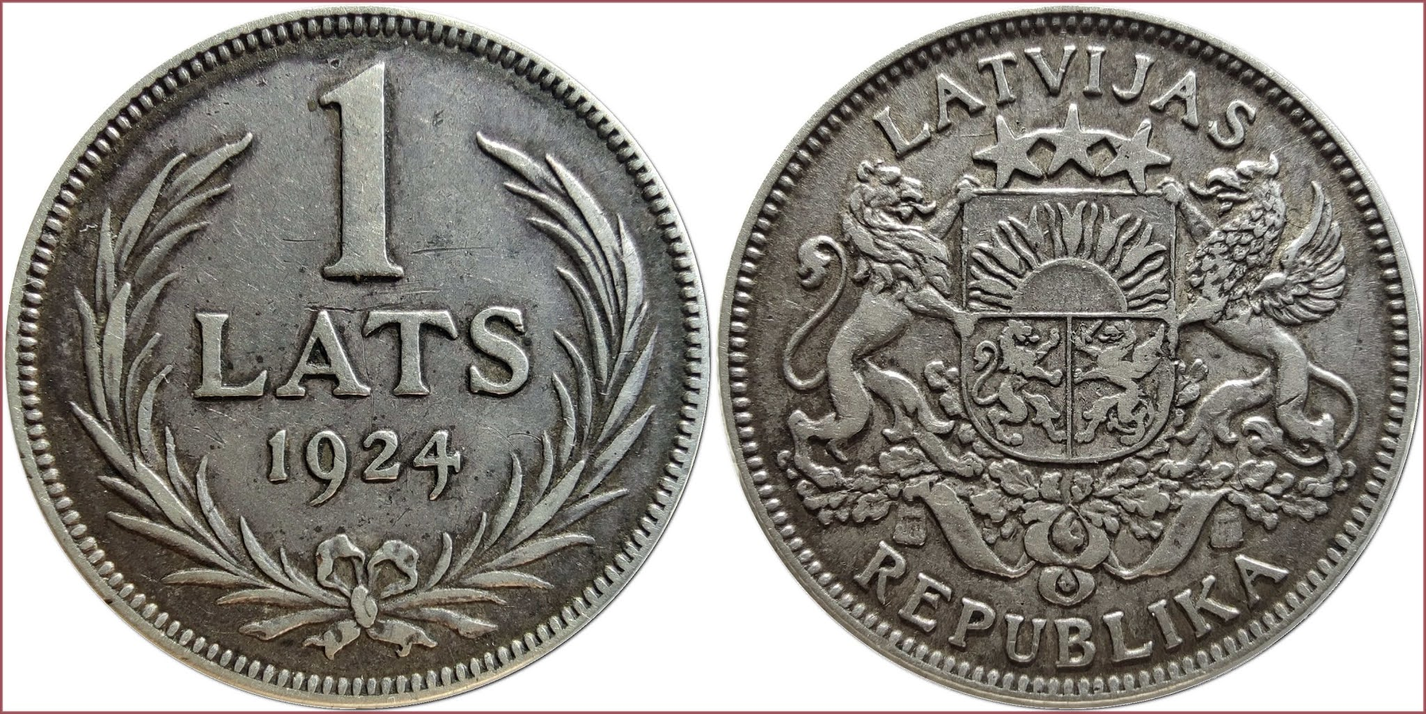 1 lats, 1924: Republic of Latvia