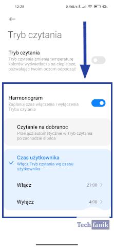 Harmonogram filtra światła niebieskiego