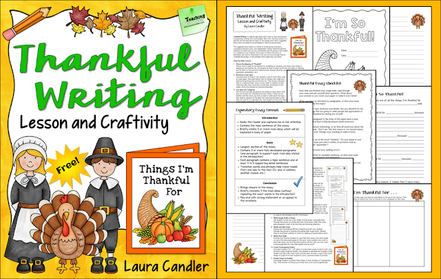 Thankful Writing is a freebie from Laura Candler that's a step-by-step writing lesson and a craftivity all in one.The final project is sent home with students to be shared with their families on Thanksgiving day, and it's sure to be a memorable keepsake!