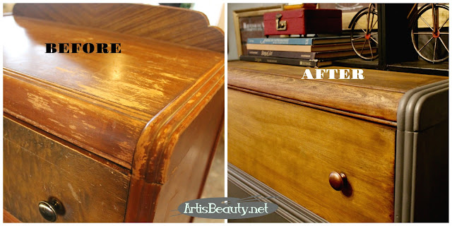 Before and after vintage waterfall chest of drawers dresser makeover diy painted general finishes boho chic regency style