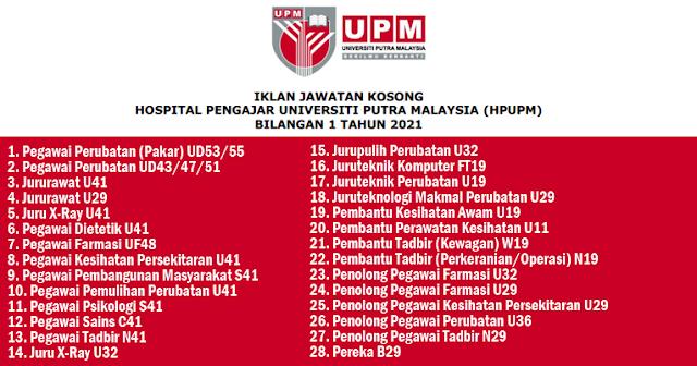 jawatan kosong universiti putra malaysia julai 2021
