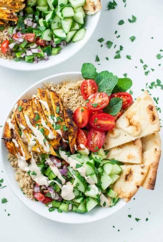 Healthy Chicken Shawarma Quinoa Bowls