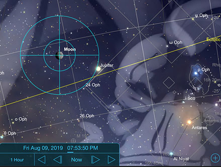 Sky Safari Pro shows he Moon has been zipping along passing Jupiter (Source: Palmia Observatory)