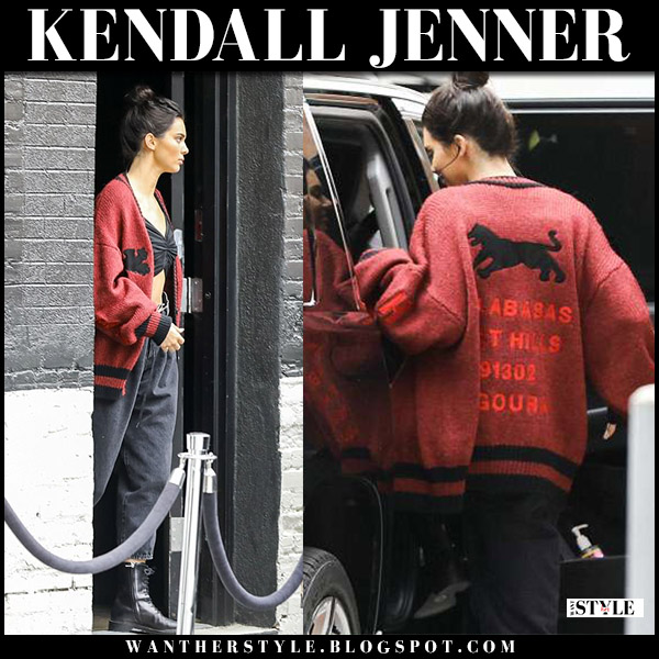 Kendall Jenner in red knit cardigan yeezy, black pants and black boots model street style may 1