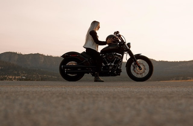 Woman on a Motorcycle ready to ride