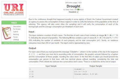 URI Online Judge Solution 1023 Drought  - Solution in C, C++, Java, Python and C#