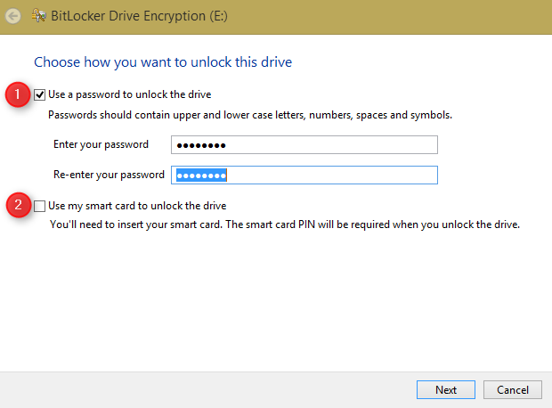 how to set password on drive in windows 8.1