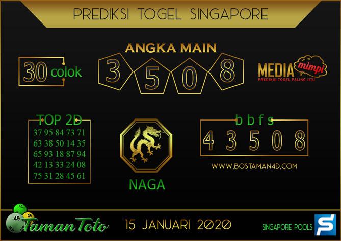 Prediksi Togel SINGAPORE TAMAN TOTO 15 JANUARI 2020