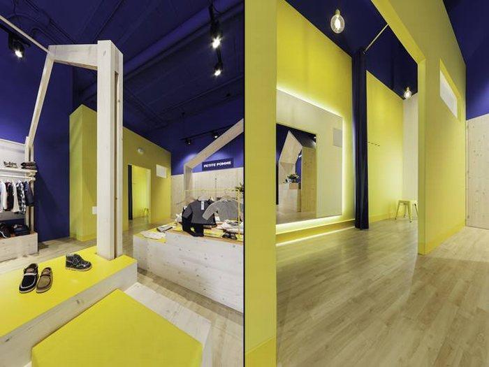 thiết kế màu sắc shop thời trang ấn tượng