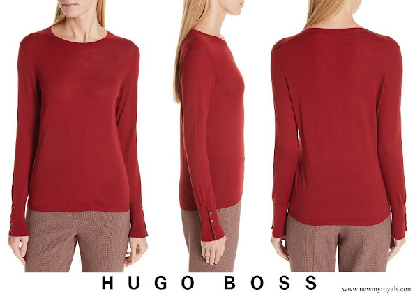 Queen Letizia wore HUGO BOSS Frankie Cuff Detail Wool Sweater