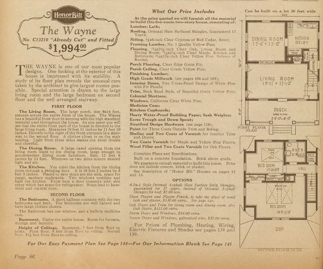 Sears Wayne 1928 catalog write up
