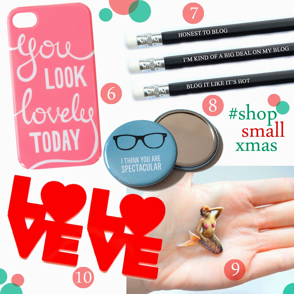 Christmas Gift Guide, Christmas gift ideas, gifts for under a tenner, present ideas for under £10, stocking fillers, shop small secret santa, secret santa gift ideas, Alphabet Bags, You look Lovely phone case, Lalaland, pop cult pencils, blogger pencils, Vivid Please, pocket mirror, compact mirror, Bonnie Bling, love coaster, Baked Memes, Mermaid Brooch