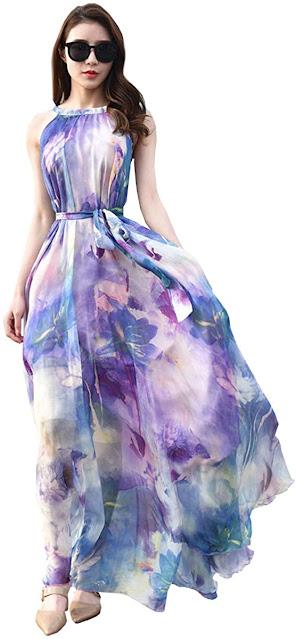 Floral Chiffon Bridesmaid Dresses For Beach Wedding