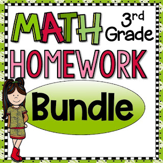 3rd Grade Math Homework or Morning Work and Spiral Review for third graders