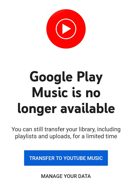 If yous happened to opened upwards the Google Play Music app in addition to saw the message inwards the app  Google Play Music is no longer available, replaced yesteryear YouTube Music app.
