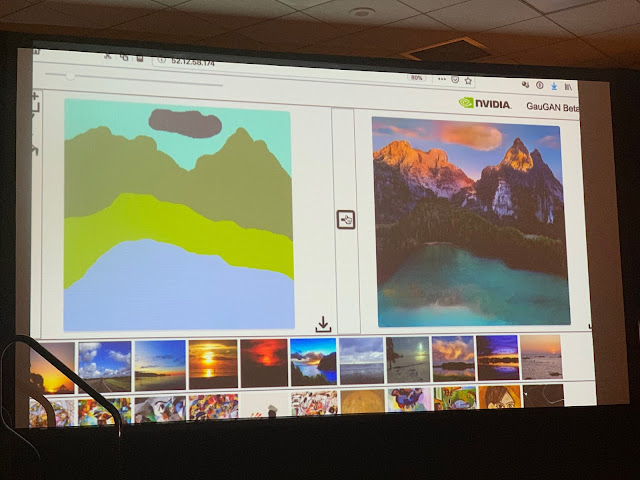 Image of two screens side by side. left with a childish idea of a lake and mountain, the right an AI realistic painting created from the childs image
