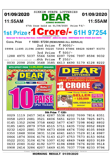 Lottery Sambad Result 01.09.2020 Dear Admire Morning 11.55 am