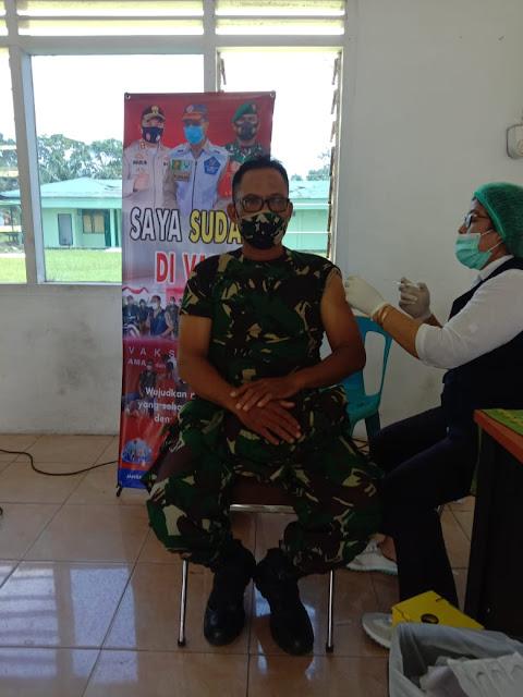 Dalam Rangka Vaksin Tahp ll, Personel Jajaran Kodim 0207/Simalungun Turut Melaksanakan Suntik Vaksin