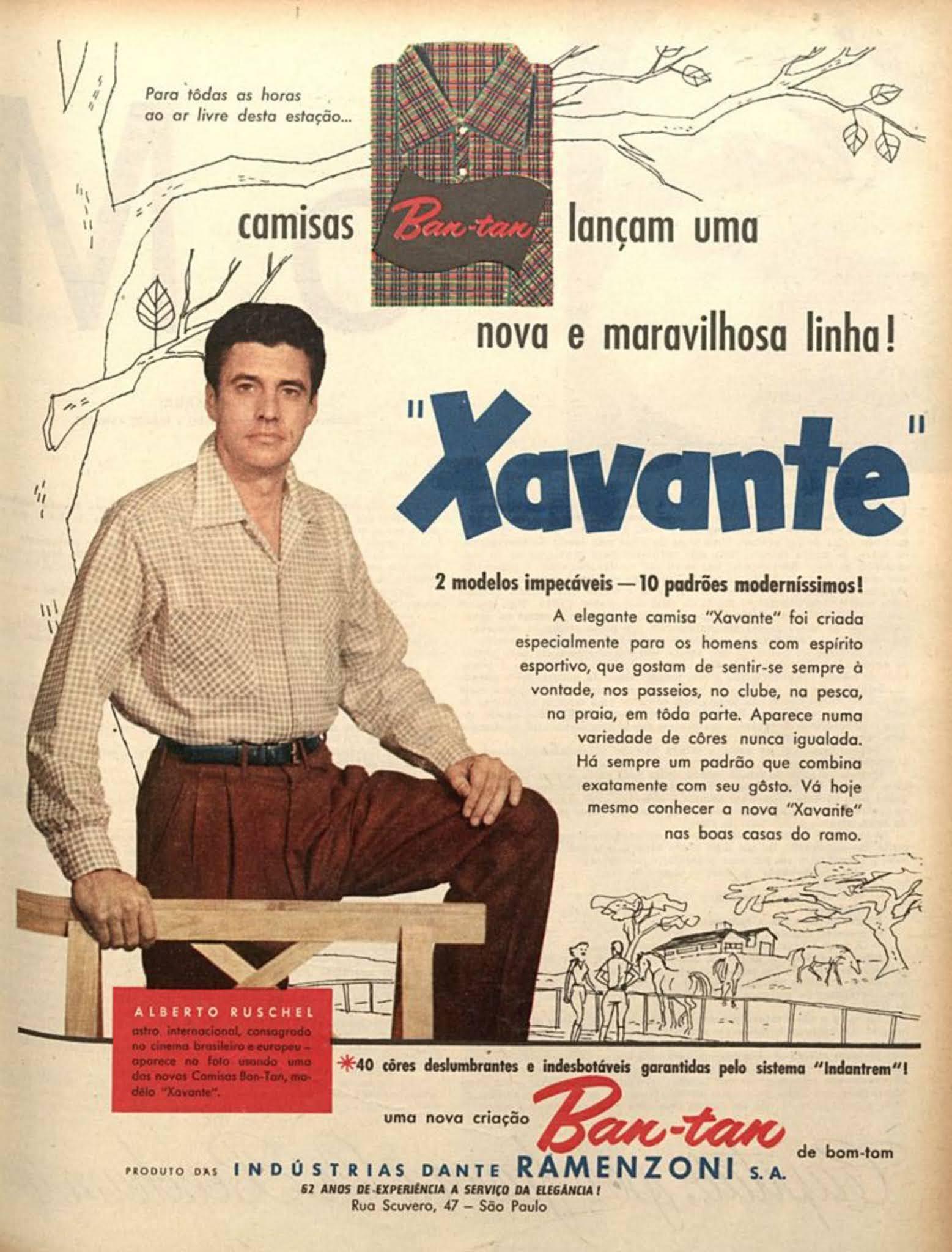 Anúncio antigo das Camisas Xavante veiculada em 1956