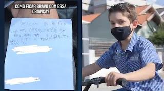"""Menino de 7 anos pede """"descupa"""" a dono do carro que riscou e viraliza"""