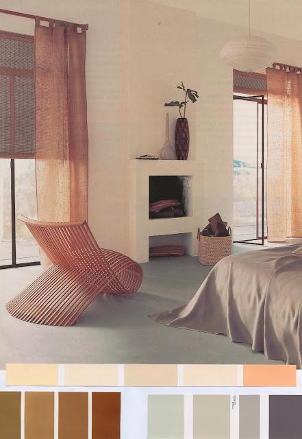 décoration, chambre, crème, bois, sol béton, nuancier, moderne,