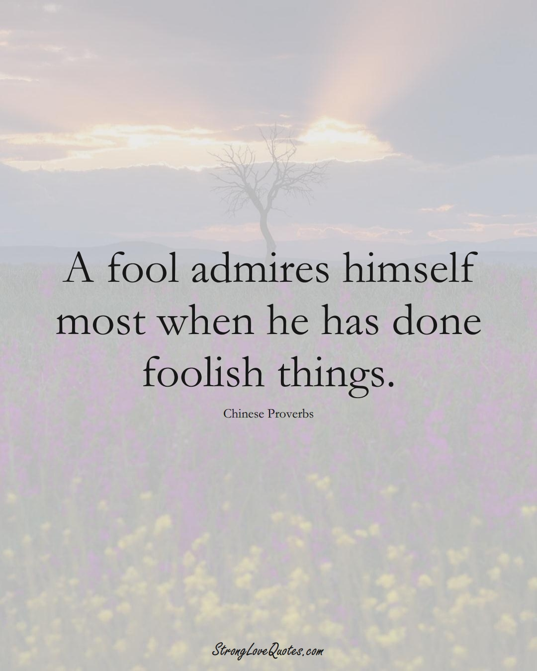 A fool admires himself most when he has done foolish things. (Chinese Sayings);  #AsianSayings