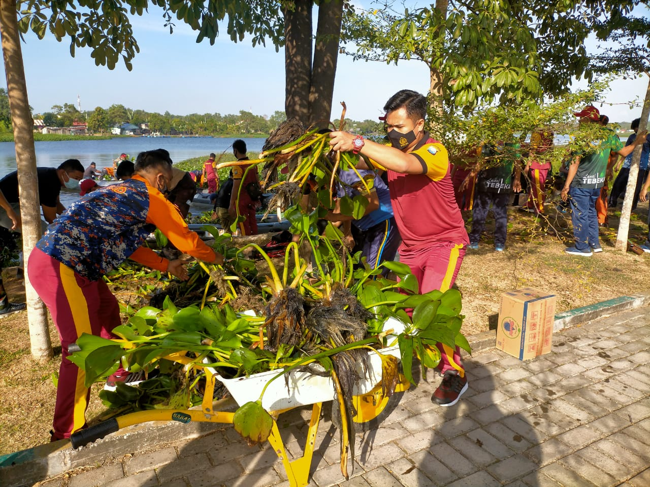 Polres Bersama TNI dan Pemkab Karimun Gotong Royong Bersihkan Sampah dan Eceng Gondok di Taman Hijau