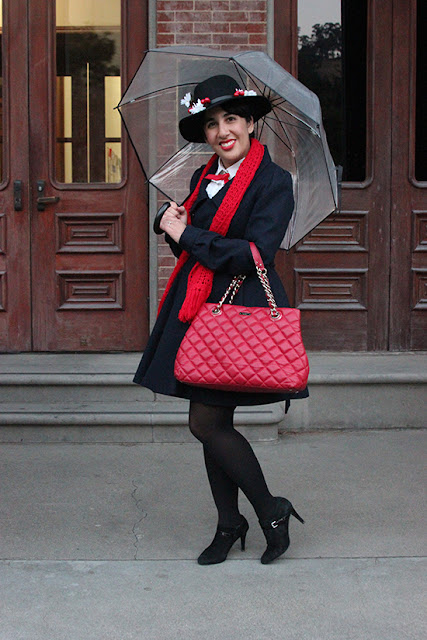 Mary Poppins Navy Coat and Kate Spade Purse Disneybound Halloween Costume  | Will Bake for Shoes