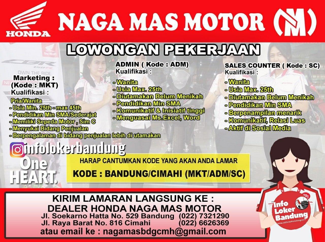 Lowongan Kerja Naga Mas Motor Bandung Januari 2020