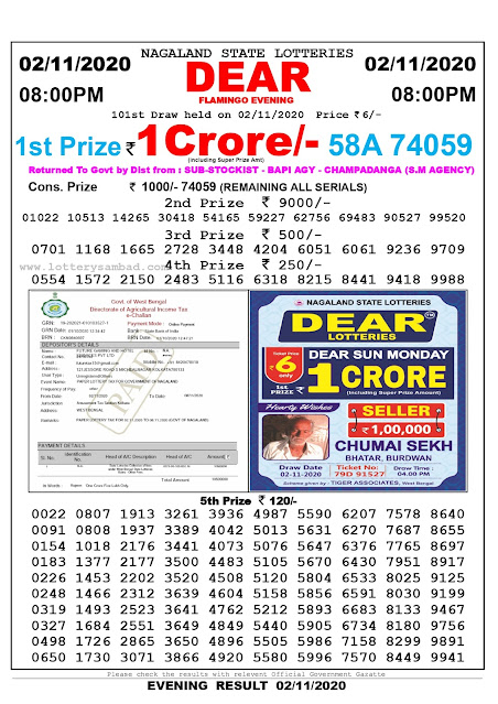 8pm Lottery Sambad, 02.11.2020, Sambad Lottery, Lottery Sambad Result 8 00 pm, Lottery Sambad Today Result 8 pm, Nagaland State Lottery Result 8 00 pm