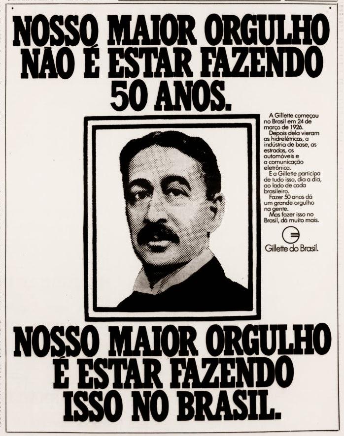 Propaganda antiga da Gillette em comemoração aos 50 anos de atividades no Brasil