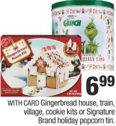 Gingerbread House, Train, Village, Cookie Kits Or Signature Brand Holiday Popcorn Tin