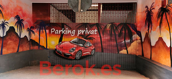 Graffiti coche Porsche persiana parking