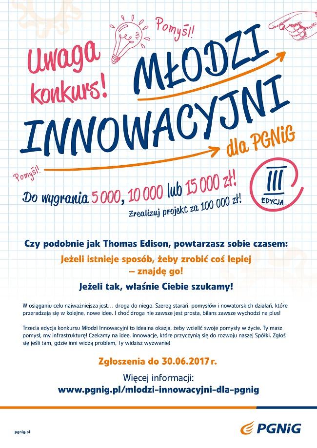 Młodzi Innowacyjni dla PGNiG 2017 - plakat